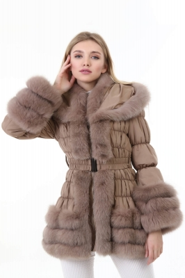 MIMOSA Fox Fur Textile Women's Inflatable Coat