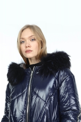 Anna Long Puff Hooded Fur Down Coat