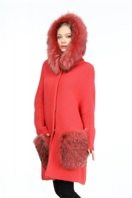 GARNET Raccoon Fur Knitwear Woman Coat