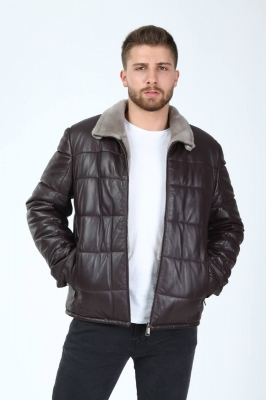 METRIO Lambskin Fur Collar Men's Puffer Jacket