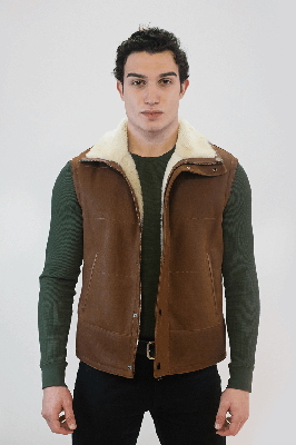 Hols Men's Shearling Vest Genuine Lambskin