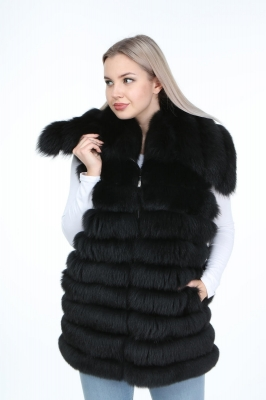 DELPHI Fox Fur Woman Leather Vest